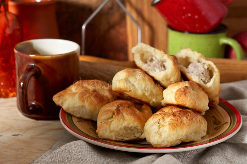 Russian meat piroshki. Traditional hand mini pies on wooden background royalty free stock image