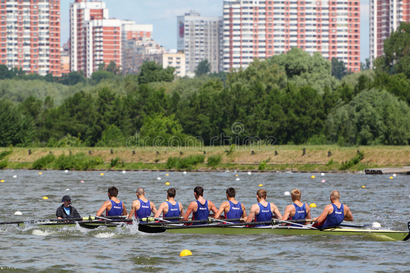 Russian men teams rowing participate royalty free stock photo