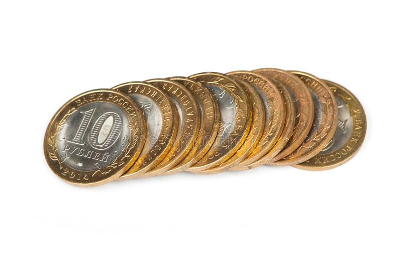 Russian metallic roubles coins royalty free stock images