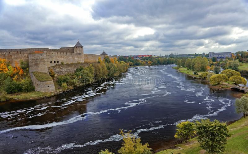 Russian middle ages fortress Ivangorod near Saint-Petersburg. Russian middle ages fortress Ivangorod near Saint-Petersburg stock photos