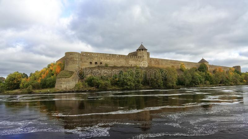 Russian middle ages fortress Ivangorod near Saint-Petersburg. Russian middle ages fortress Ivangorod near Saint-Petersburg royalty free stock image