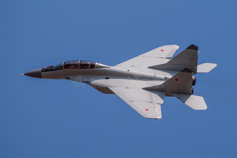 Russian MiG-29 Fulcrum. During 100 years of Serbian Airforce stock photos