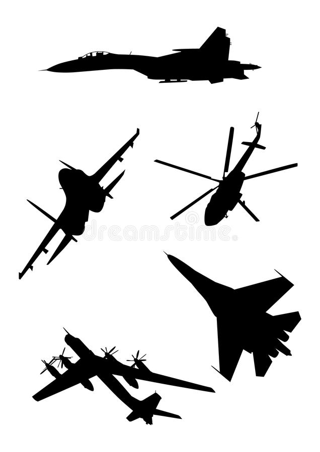 Russian military air force silhouettes set isolated on white background stock illustration