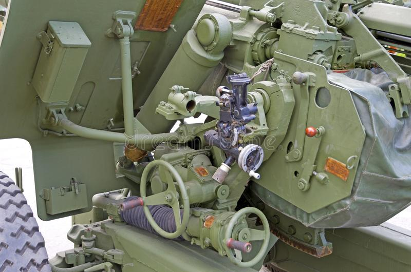 Russian military equipment close-up. In the city. Peace time. Artillery gun stock photos