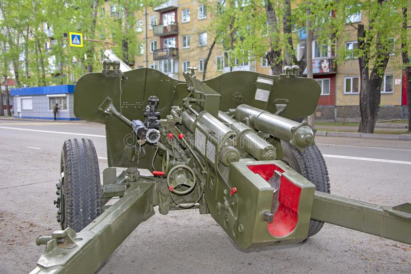 Russian military equipment close-up. In the city. Peace time. Artillery gun royalty free stock images