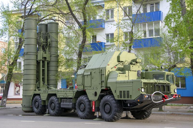 Russian military equipment close-up. In the city. Peaceful time. Anti-aircraft gun S-300 royalty free stock images