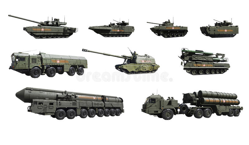 Russian military equipment participating in the parade on Red square in Moscow to commemorate the Victory in the great Patriotic. War. The parade was held on 9 royalty free stock photos