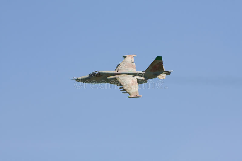 Russian military fighter aircraft SU-25 in flight stock photo