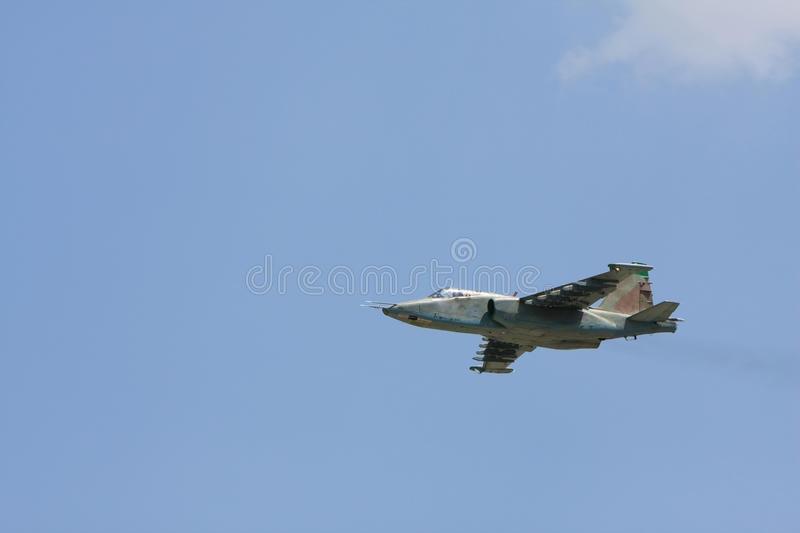 Russian military fighter aircraft SU-25 in flight stock image
