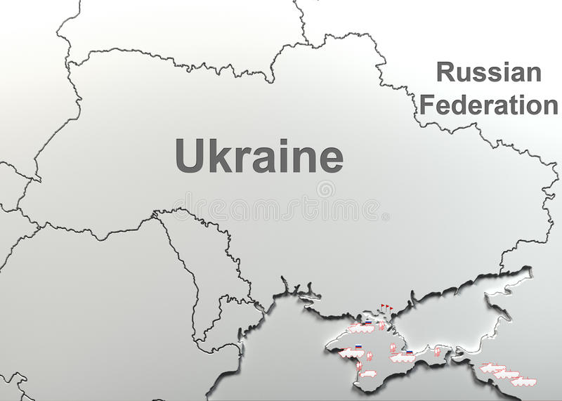 Russian military forces in Ukraine(Crimea). Map. The Russian military forces in Ukraine(Crimea). Map royalty free stock images