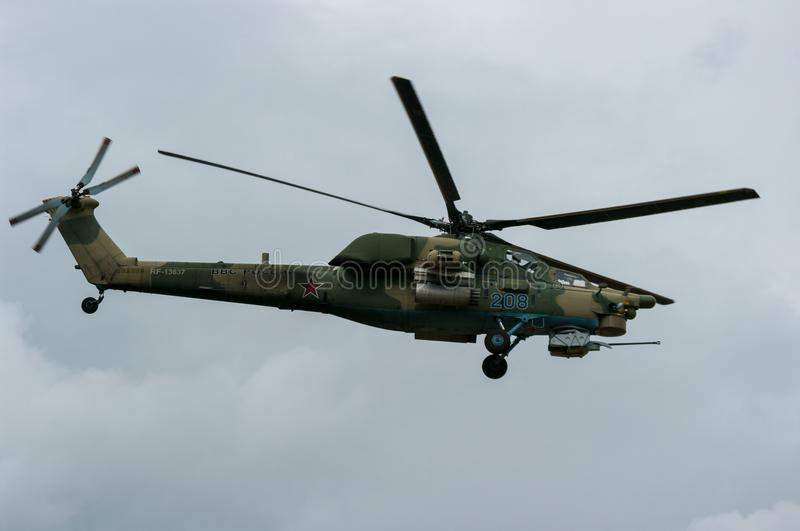 Russian military helicopter Mi-28N on air-show stock photos