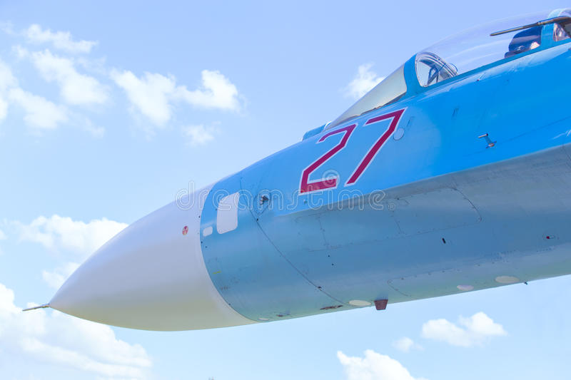 Russian military plane in sky. Closeup royalty free stock image