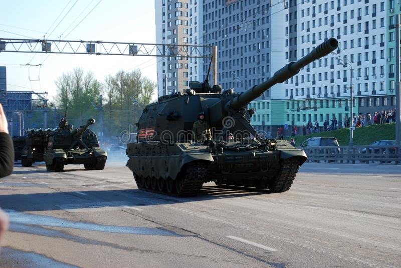 The Russian 152-millimeter artillery single-barreled self-propelled howitzer of `Koalition-SV` goes on city streets. Moscow. Russia. May 3, 2017. The Victory stock photo