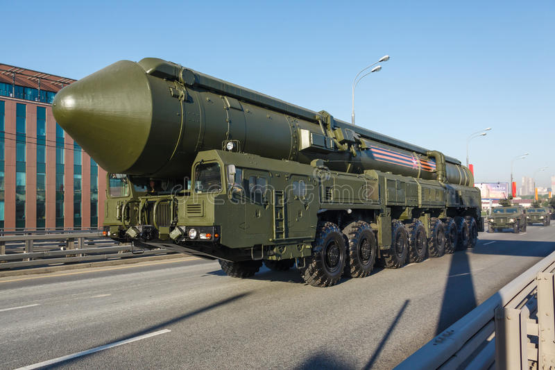 Russian MIRV-equipped, thermonuclear weapon intercontinental ballistic missile Yars. MOSCOW, RUSSIA - MAY 09, 2016:Russian thermonuclear weapon intercontinental stock photo
