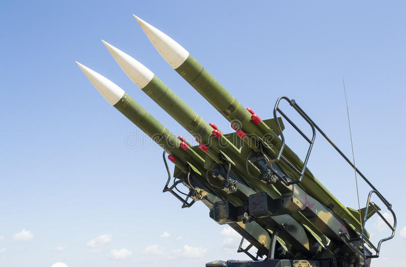 Russian missile launcher. Russian manufactured guided missile launcher with three rockets, oriented towards west, ready for deployment stock image