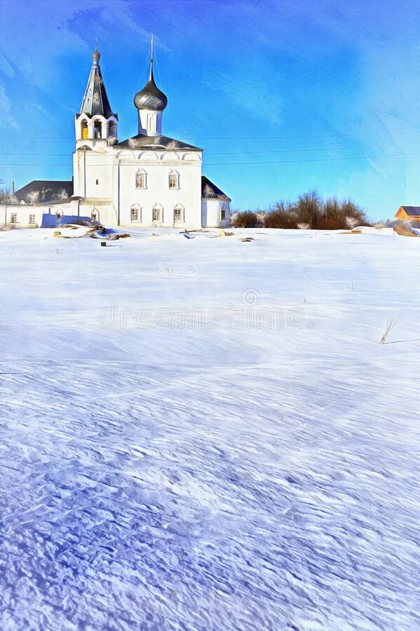 Free Russian Monastery Architecture In Gorohovets At Winter Colorful Painting Looks Like Picture. Stock Image - 202358321