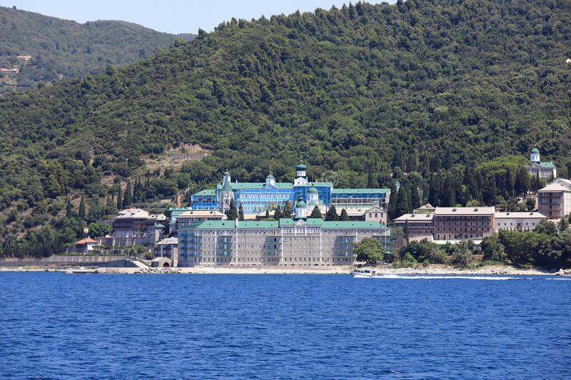 Russian monastery of St. Panteleimon on the coast of the Peninsula of Athos royalty free stock photo