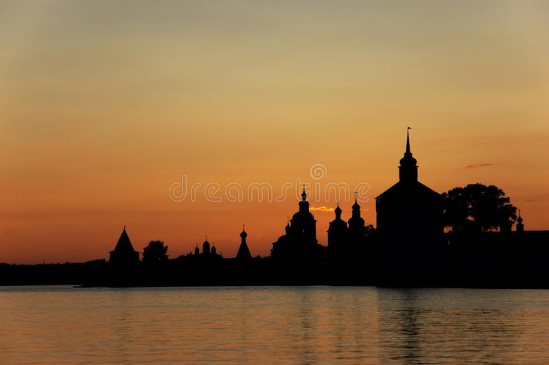 Russian monastery at sunset.
