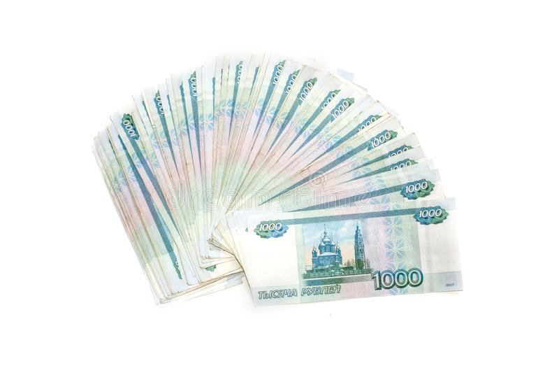 Russian money banknotes currency rouble on white background. in nominal value of one thousand. Rich concept. Russian money banknotes currency rouble on white royalty free stock photography