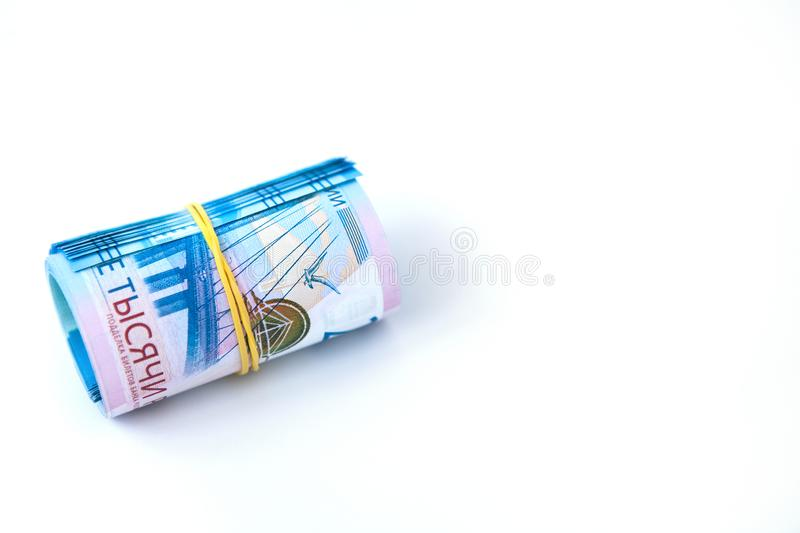 Russian money banknotes currency rouble on white isolated background. in nominal value of two thousand. Close up. Rich concept. Russian money banknotes currency stock photo