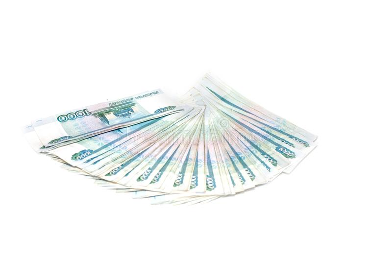 Russian money banknotes currency rouble on white background. in nominal value of one thousand. Rich concept. Russian money banknotes currency rouble on white stock photos