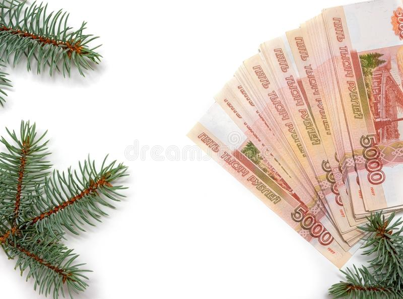 Russian money and branches of blue spruce. Sale of real estate in an ecologically clean place. The concept of investing money royalty free stock photos