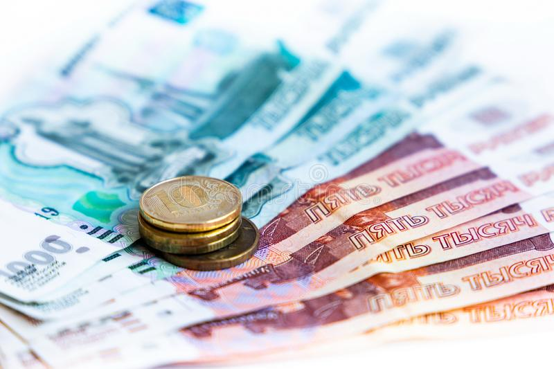 Russian money and coins. Close-up image royalty free stock photo