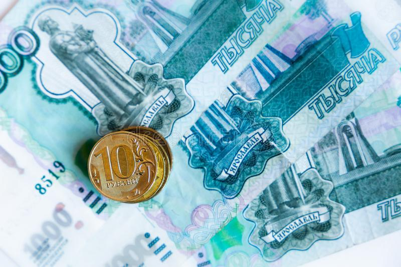Russian money and coins. Close-up image royalty free stock images
