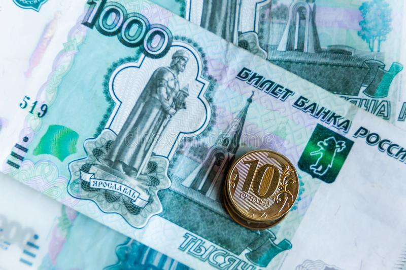 Russian money and coins. Close-up image royalty free stock photography