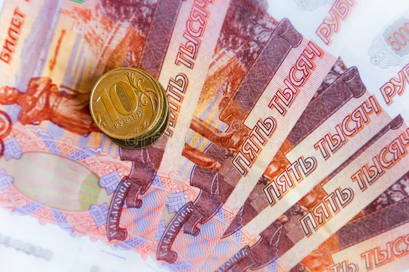 Russian money and coins. Close-up image stock photos