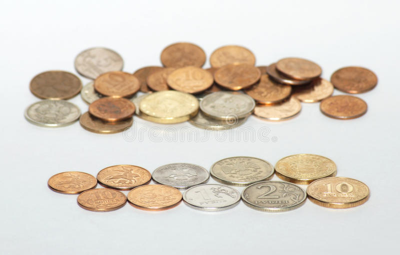 Russian money coins on white background stock photo