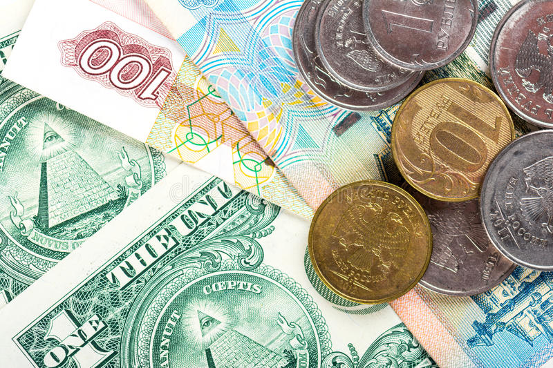 Russian national currency devaluation. Devaluation of national currency of Russian Federation royalty free stock image