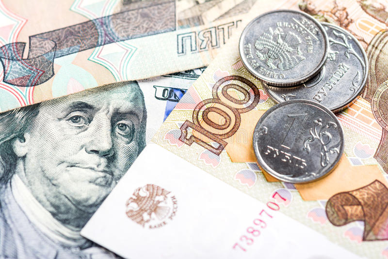 Russian national currency devaluation. Devaluation of national currency royalty free stock image