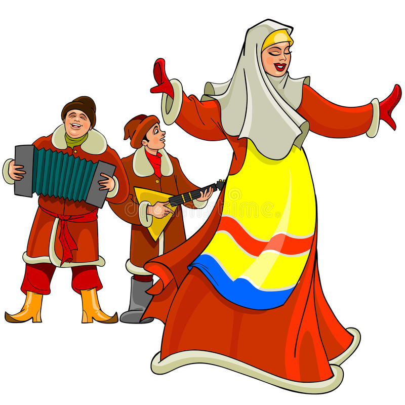 In the Russian national dress dancing woman, men play the accordion and balalaika. Cartoon in the Russian national dress dancing woman, men play the accordion vector illustration