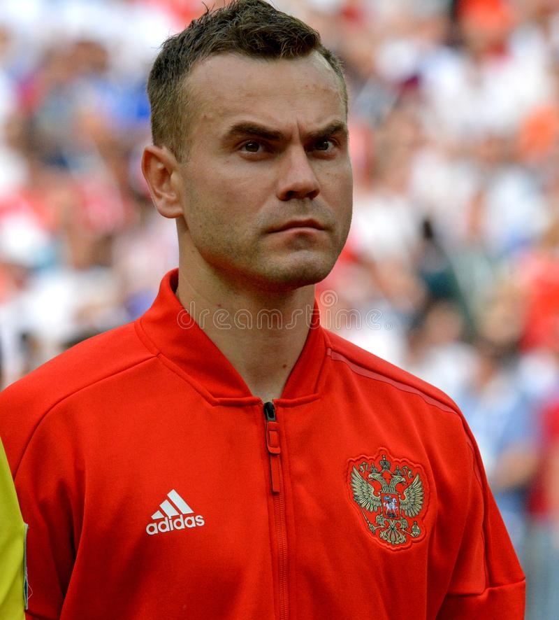 Russian national football team goalkeeper Igor Akinfeev before FIFA World Cup 2018 Round of 16 match Spain vs Russia. He was stock photo