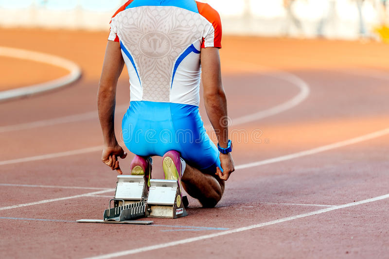 russian national team male runner at start for sprint race royalty free stock photos