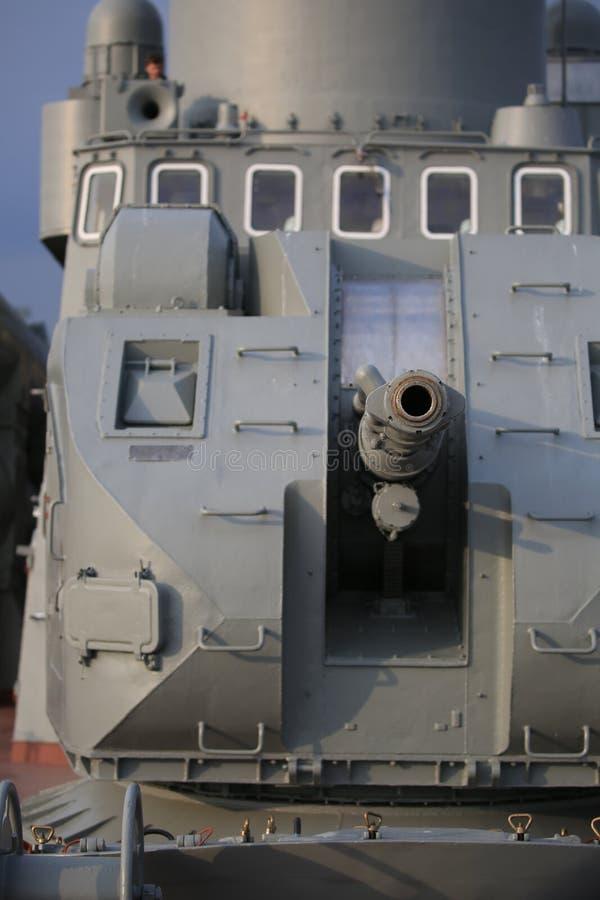 AK-176 dual purpose main naval gun. Front view closeup stock photography