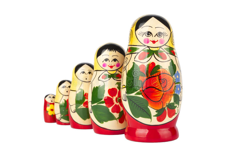 Russian nesting doll. On white background royalty free stock image