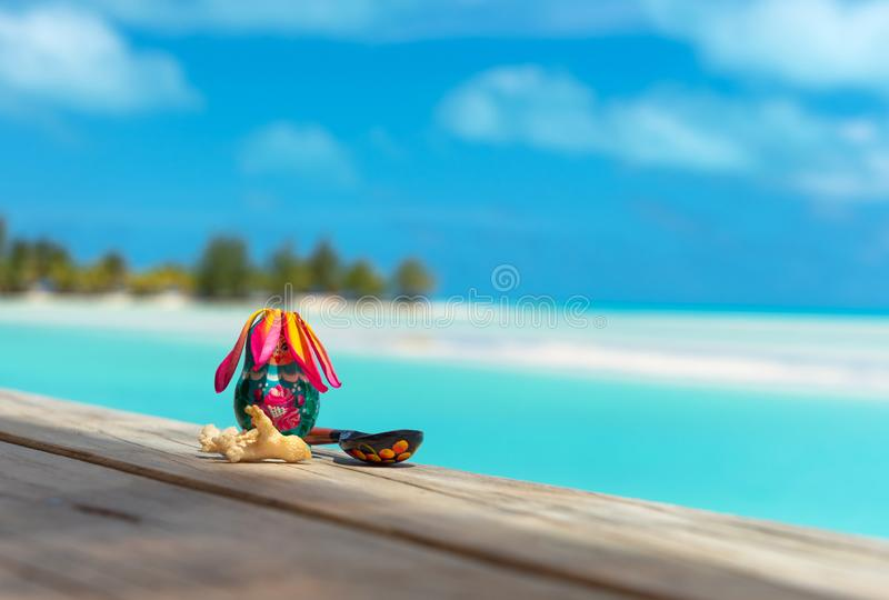 Russian nesting doll and spoon, Aitutaki island, Cook Islands, South Pacific royalty free stock photos