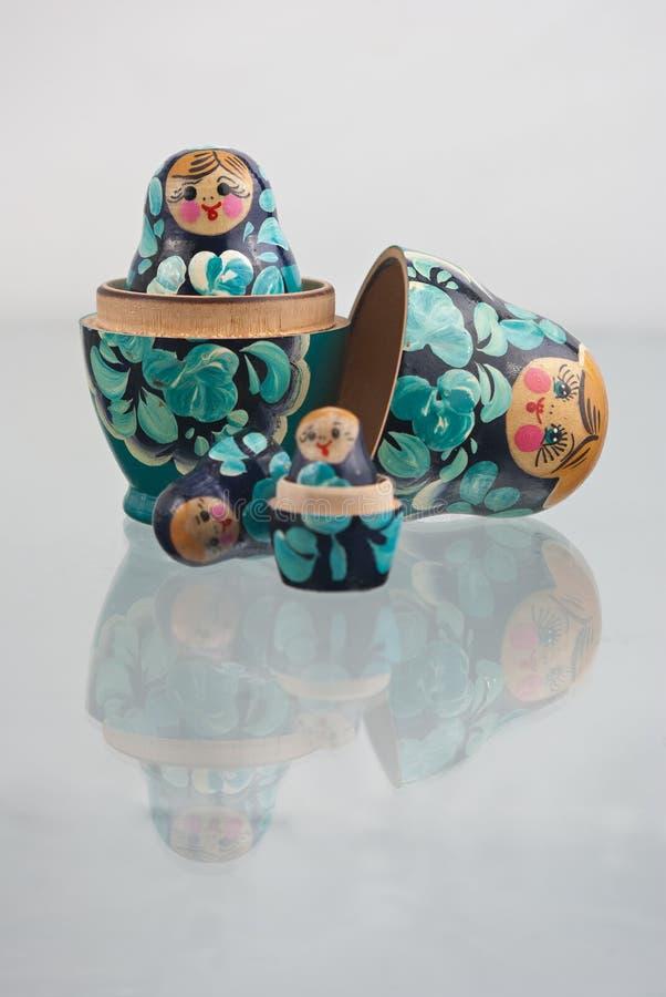 Russian nesting dolls (babushka) half open stock photo