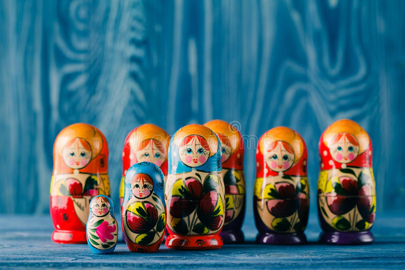 Russian nesting dolls babushkas or matryoshkas stock images
