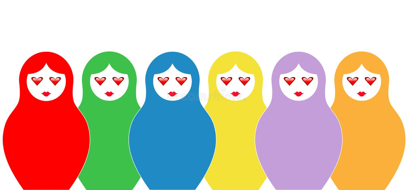 Russian Nesting Doll Matrioshka Set Icon Colorful Symbol Of Russia