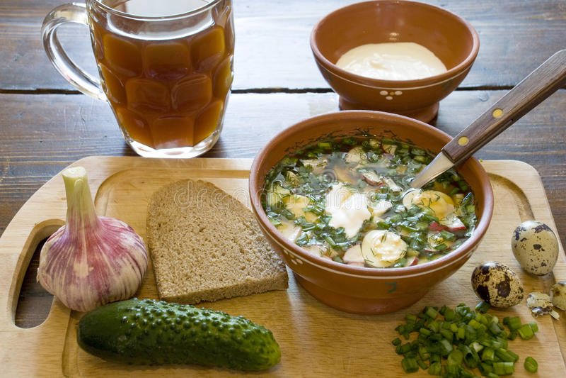 Russian okroshka. Russian cold soup okroshka made of kvass royalty free stock image