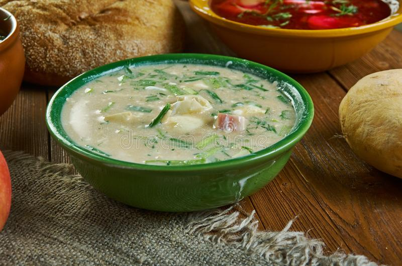 Russian Okroshka. Okroshka, Russian traditional soups , assorted dishes, Top view.soup is a mix of mostly raw vegetables , boiled potatoes, eggs, and a cooked royalty free stock photography