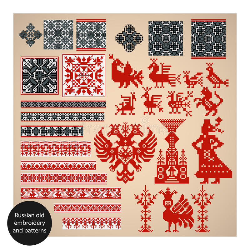 Russian old embroidery and patterns stock illustration