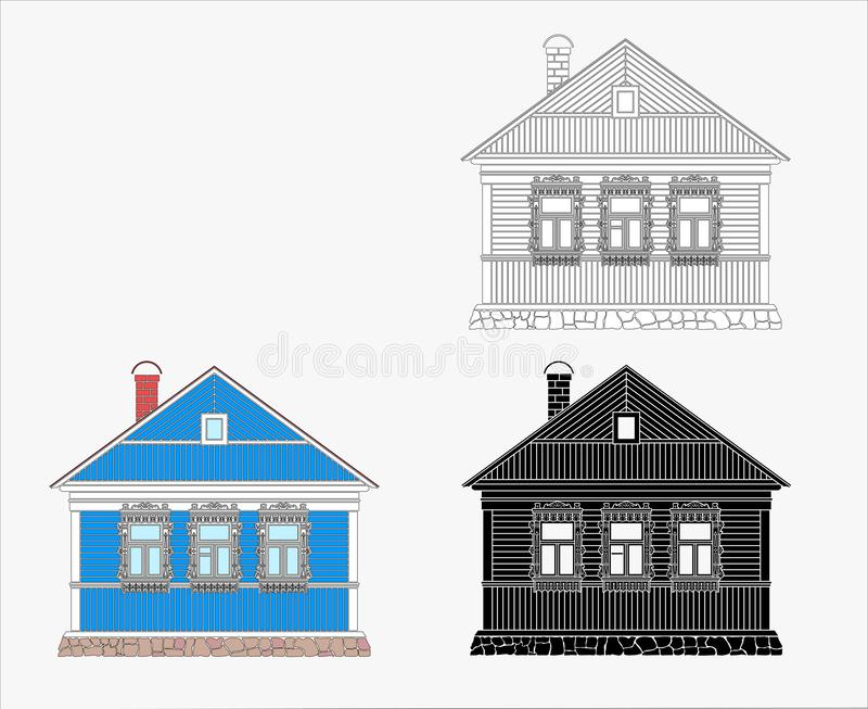 Russian old traditional wooden house. vector illustration