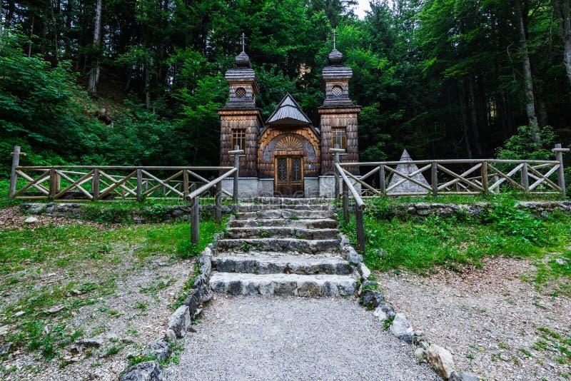 Russian orthodox chapel in Vrsic Pass, Triglav, Slovenia.  stock image