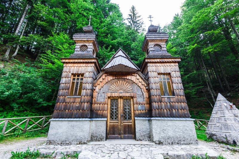 Russian orthodox chapel in Vrsic Pass, Triglav, Slovenia.  stock photo