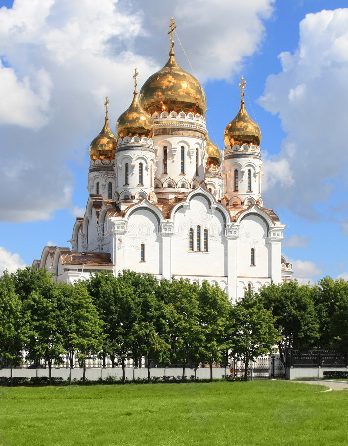 Russian orthodox church. With gold domes royalty free stock image