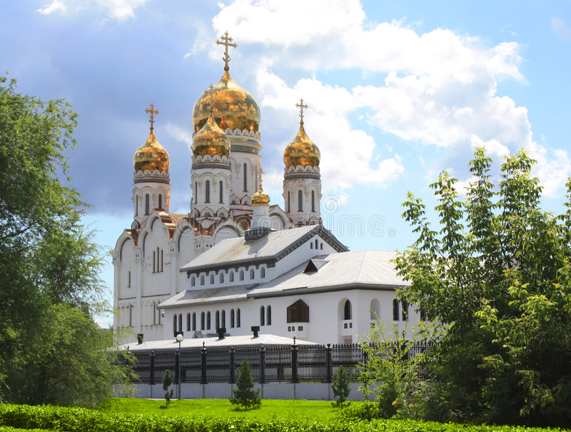 Russian orthodox church. With gold domes stock photos